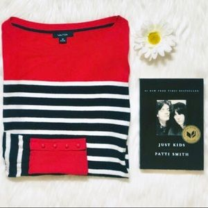 Red & Blue Striped Boatneck Sweater by Nautica
